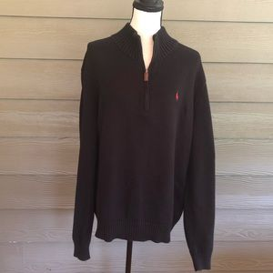 Polo Ralph Lauren Sweater Black 1/4 Zip Pullover L